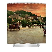 Main Street Mackinac Island Michigan Panorama Textured Shower Curtain