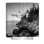 Maine Acadia Bass Harbor Lighthouse In Black And White Shower Curtain by Ranjay Mitra