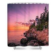 Maine Acadia Bass Harbor Lighthouse Sunset Shower Curtain by Ranjay Mitra