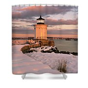 Maine Bug Light Lighthouse Snow At Sunset Shower Curtain