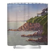Maine Coast Abode - Art By Bill Tomsa Shower Curtain