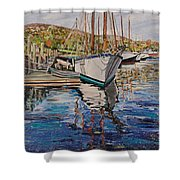 Maine Coast Boat Reflections Shower Curtain