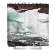 Maine Coast Storm Waves 2 Of 3 Shower Curtain