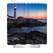 Maine Coastline Sunrise Shower Curtain