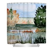 Maine Fall Reflections Shower Curtain