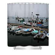 Maine Falmouth Boat Landing On Misty Morning Panorama Shower Curtain