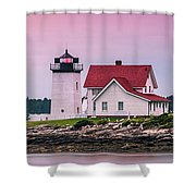 Maine Hendricks Head Lighthouse In Southport At Sunset Shower Curtain