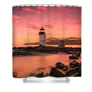 Maine Lighthouse Marshall Point At Sunset Shower Curtain by Ranjay Mitra