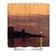 Maine Lighthouse Sundown Shower Curtain
