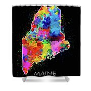Maine Map Color Splatter 2 Shower Curtain