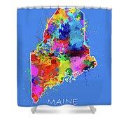 Maine Map Color Splatter 3 Shower Curtain