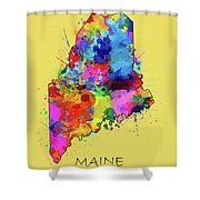 Maine Map Color Splatter 4 Shower Curtain