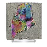 Maine Map Color Splatter 5 Shower Curtain
