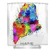 Maine Map Color Splatter Shower Curtain