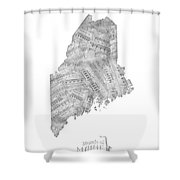 Maine Map Music Notes Shower Curtain