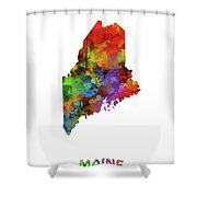 Maine Map Watercolor Shower Curtain