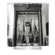 Maine State Capitol Hall Of Flags Modern Conflicts Display Case Shower Curtain