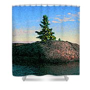 Maine Stone Island Sunrise Shower Curtain
