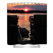 Maine Sunset And Traps Shower Curtain