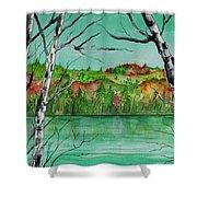Maine's Autumn Finery Shower Curtain