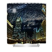 Majestic Chicago - Windy City Riverfront At Night Shower Curtain
