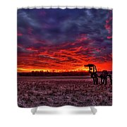 Majestic Red Clouds Winter Sunset The Iron Horse Art Shower Curtain