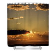 Majestic Vivid Sunset/sunrise With Dark Heavy Clouds And Sunrays Shower Curtain