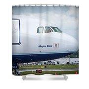 Major Blue Shower Curtain