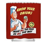 Make All The Food Go All The Way Shower Curtain by War Is Hell Store