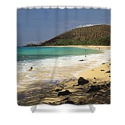 Makena Beach Panorama Shower Curtain