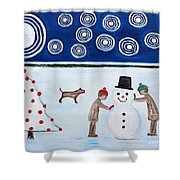 Making A Snowman At Christmas Shower Curtain