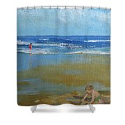 making castles on Salisbury Beach Shower Curtain