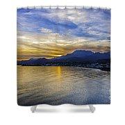 Makrygialos Sunset Shower Curtain