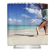 Male Beach Runner Shower Curtain by Brandon Tabiolo - Printscapes