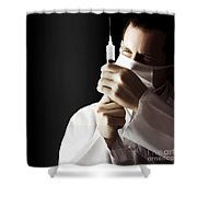 Male Doctor With Needle Syringe On Dark Background Shower Curtain