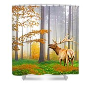 Male Elk Bugling Shower Curtain