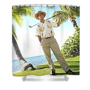 Male Golfer Shower Curtain by Brandon Tabiolo - Printscapes