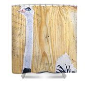 Male Ostrich On Wood Shower Curtain