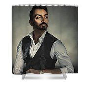 Male Portrait Shower Curtain