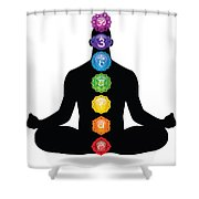 Male Silhouette Chakra Illustration Shower Curtain