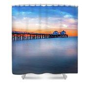 Malibu Pier Sunrise Shower Curtain