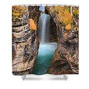 Maligne Canyon Falls Vertical Panorama Shower Curtain