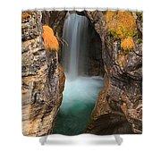 Maligne Canyon Vertical Panorama Shower Curtain
