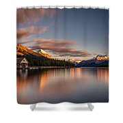 Maligne Lake Sunrise Shower Curtain