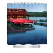 Maligne Tours Boat House Shower Curtain