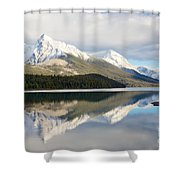 Malingne Lake Reflection, Jasper National Park  Shower Curtain
