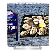 Malpeque Oyster Poster Shower Curtain