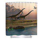 Mamenchisaurus Dinosaur Morning Shower Curtain