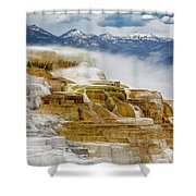 Mammoth Hot Springs In Yellowstone National Park, Wyoming. Shower Curtain