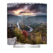 Man Above A River Meander Shower Curtain